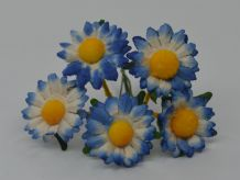 2.2 cm ROYAL BLUE  SANTINI CHRYSANTHEMUM DAISY Mulberry Paper Flowers (1)